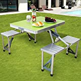 GOODONE Folding Camping Table with 4 Seats Set, Aluminum Foldable Picnic Table with Umbrella Hole and Handle, Portable Siamese Table and Chairs for BBQ, Gathering,Outdoor, Green, 33.8x26.4x26.4 inch