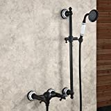 Hiendure® Bronzo lucidato olio Wall Mount vasca da bagno rubinetto Doccia rubinetto Miscelatore monocomando con barra piena Doccia a mano