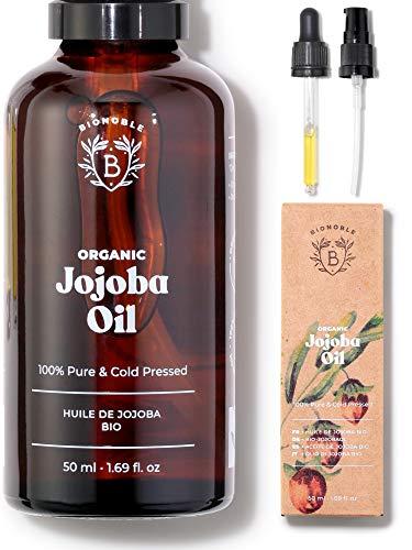 JOJOBAÖL BIO | 100% Rein, Natürlich & Kaltgepresst | Gesicht, Körper, Haare, Bart, Nägel | Vegan & Cruelty Free | Jojoba Oil | Glasflasche + Pipette + Pumpe (50ml)