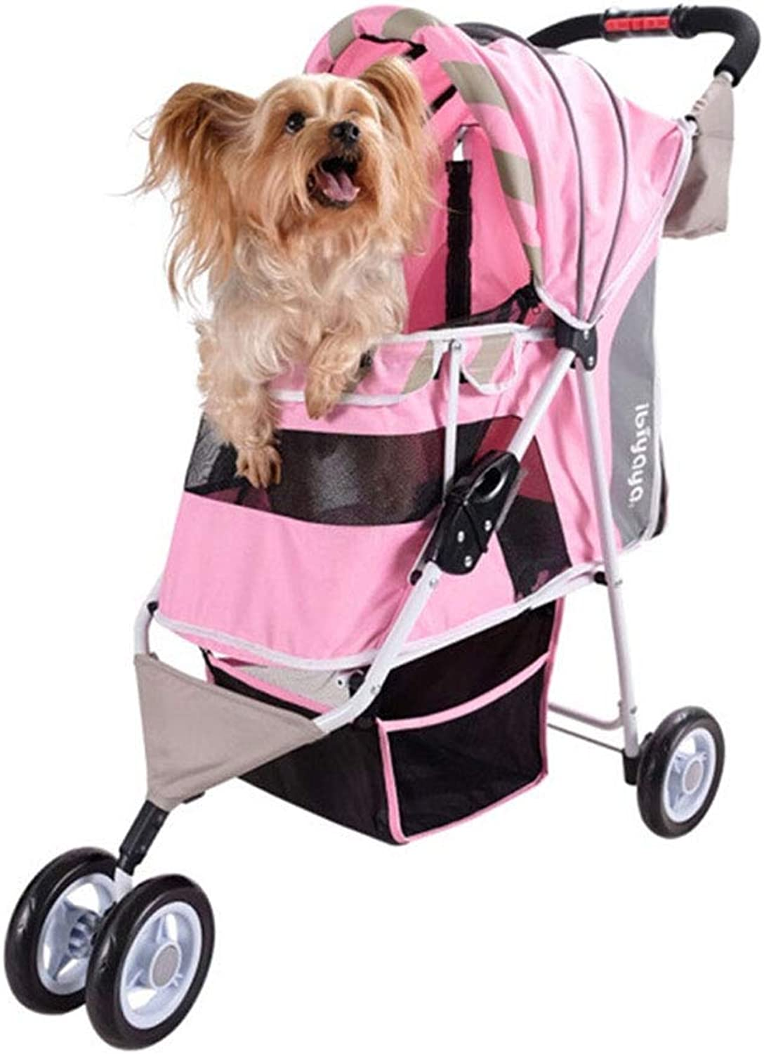 MEIHAO Pet Stroller for Cats Dogs, Zipperless Entry, Small Animals Carrier Cage Jogging Travel Easy Fold with Removable Liner, Storage Basket + Cup Bag