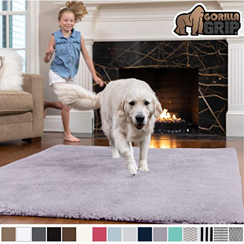 Gorilla Grip Original Faux-Chinchilla Area Rug, 2x8 Feet, Super Soft and Cozy High Pile Washable Carpet, Modern Rugs for Floor, Luxury Shag Carpet for Home, Nursery, Bed and Living Room, Soft Purple