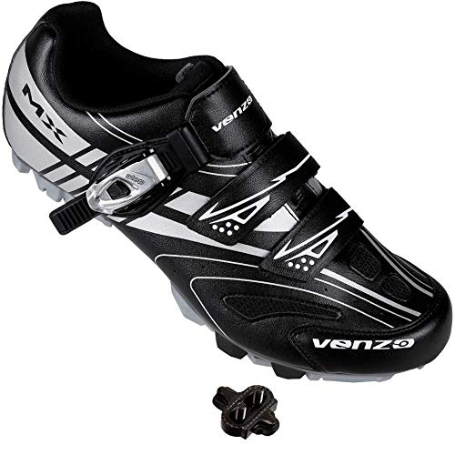 Venzo Mountain Men's Bike Bicycle Cycling Shoes - Compatible with Shimano SPD Cleats - Good for Spin Cycle, Off Road and MTB Buckle Strap + SPD Single Release Cleats - Size 8