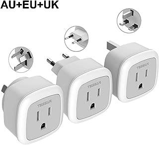 European UK Australia Travel Power Plug Adapter Set, TESSAN 3 Pack Mini Outlet Adaptor for USA to Europe Asia Spain France Iceland Italy Ireland England China (Type C, Type G, Type I)