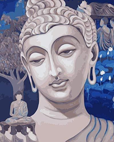 shuodade Adultos pintan estatuas de Buda con números Use el Cepillo para Pintar y Pintar Accesorios para el hogar 40x50cm