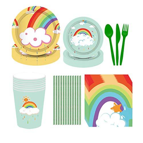 Hongfago Juego de fiesta arcoíris de 69 piezas para fiesta de verano para fiestas de bebé, platos, vasos y servilletas para 8 niños, regalo de cumpleaños, decoración de fiestas, baby shower