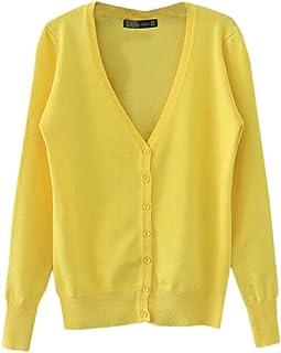 c9ca38e2c4 Liangzhu Femme Cardigan Gilet À Manche Longues Casual avec Boutons Veste  Ouvert Coat Jacket Gilet