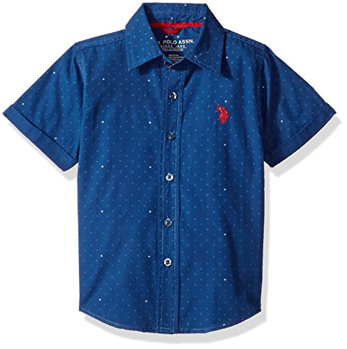U.S. Polo Assn. Toddler Boys' Short Sleeve Chambray Sport Shirt, Classic Navy, 3T