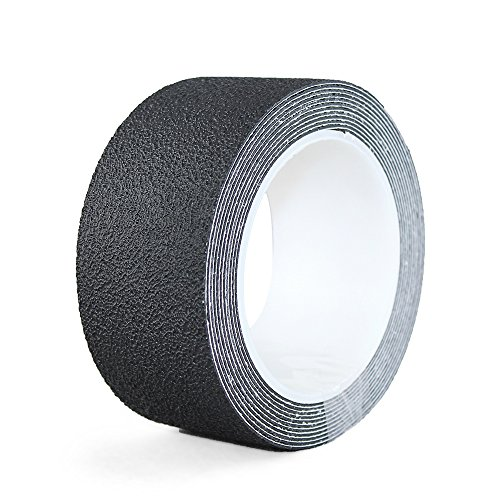 "NAC INDUSTRIAL Waterproof Adhesive Anti Slip Tape NAC Safety Aqua Slip - Non Slip Stickers for Bath, Bathroom, Bathtub, Shower, Kitchen and All Wet Areas (2"" x 10 feet, Black)"