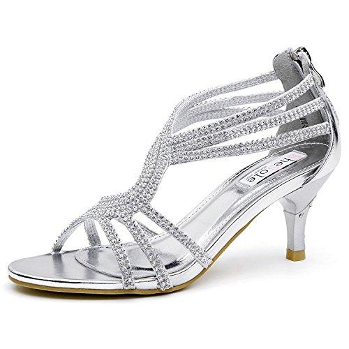 SheSole Womens Strappy Heels Open Toe Dress Sandals Silver US 7
