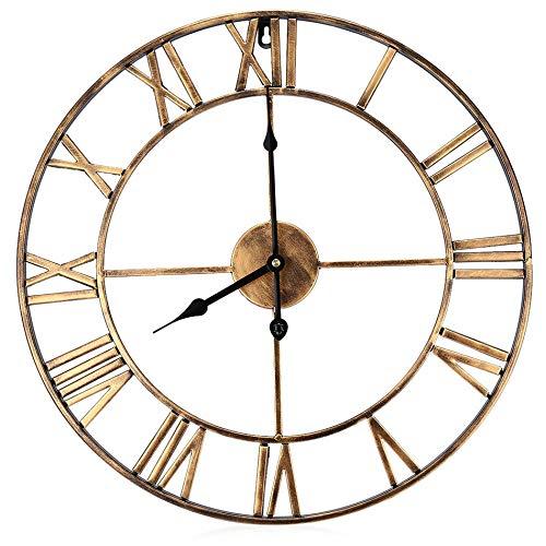 yaoyao Reloj de pared redondo de 49 cm, Big Iron Retro Art Gear números romanos, manecillas de metal, silencioso, buen sabor para la decoración del salón o algunas tiendas de ropa, etc.