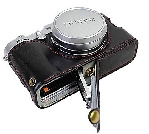 La metà del sacchetto della cassa della macchina fotografica fondo apribile in pelle Versione PU protettiva per x100f Fujifilm con cinghia Mano Nera