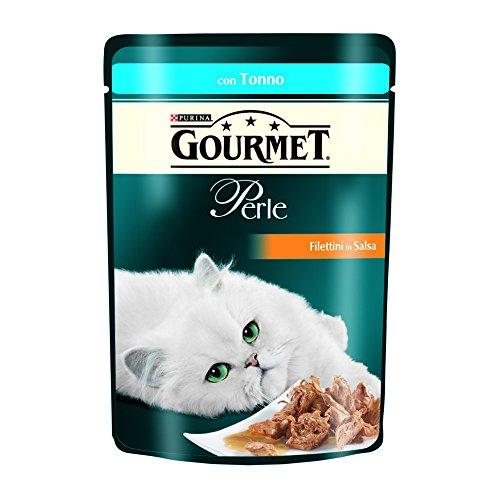 Purina Gourmet Perle Umido Gatto Filettini in Salsa con Tonno, 24 Buste da 85 g Ciascuna, Confezione da 24 x 85 g