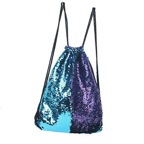 Pailletten Rucksack Sportbeutel Sport Tanz Tasche Glitzer Wende Pailletten Bag für mädchen Kinder (Blau&Lila)