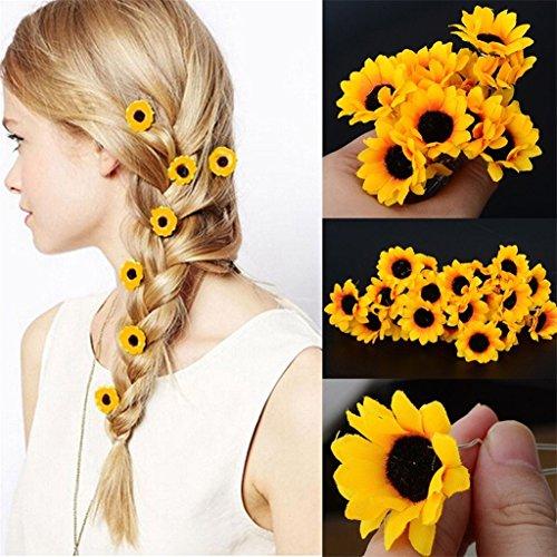 Polytree 10Pcs Daisy Sunflower Bridal Wedding Hair Pins Hair Clips,Orange