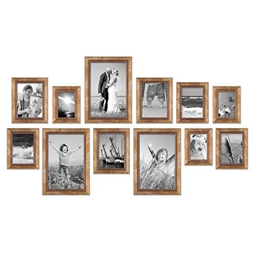 PHOTOLINI 12er-Set Bilderrahmen Gold Barock Antik 10x15, 13x18, 15x20 und 20x30 cm inkl. Zubehör Fotorahmen/Barock-Rahmen
