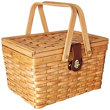 Vintiquewise TM QI003081 Gingham Lined Picnic Basket with Folding Handles