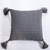 CHSDN Funda de almohada de punto para decoración del hogar creativa borla...