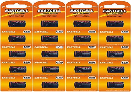 20 x 4LR44 6V (4 Blister a 5 Batterien) Quecksilberfreie Alkaline Batterien PX28, 4G13, 476A, L1325 Markenware EINWEG EASTCELL FBA