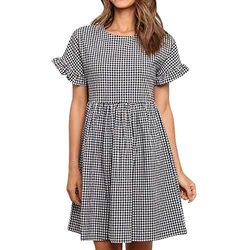Womens Fashion New Spring Summer Round Collar Short Sleeve Falbala Grids Dress