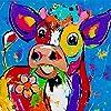 DIY 大人のための数字で描く ハイランド牛 DIYアクリル絵の具セット スコットランドのハイランド牛 40x40cm フレームレス