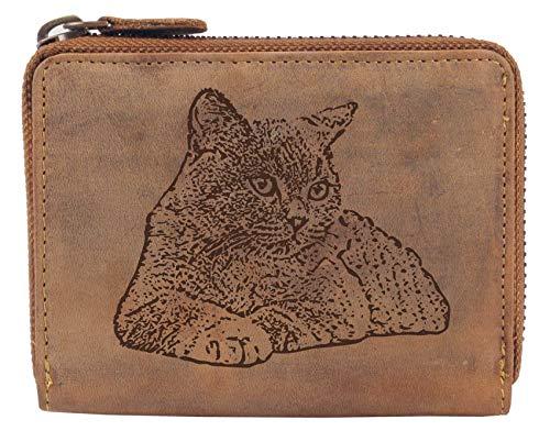 Greenburry Damen Geldbörse Braun 13x10x3cm mit Motiv Einer Britisch Kurzhaar Katze