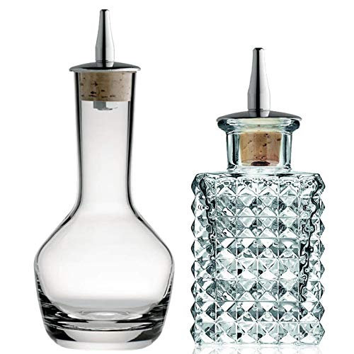 Bitters Bottle - Botellas dispensadoras de cristal de 3 onzas para almacenar y rociar ingredientes amargos caseros de cócteles, diseño vintage cuadrado y redondo con tapa de corcho - Juego de 2
