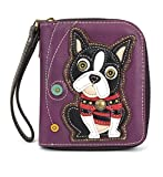 Charming Animal Theme Deluxe Zip around Wallet (Purple Boston Terrier)