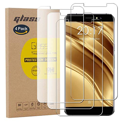 pinlu [4 Pack Film Protection en Verre trempé écran Protecteur Vitre pour Ulefone S8 / Ulefone S8 Pro Glass Protector Haute Transparence, Super Résistant, sans Bulles d'air [0.26mm/9H]