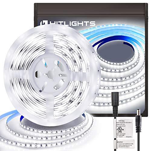 HitLights Cool White LED Strip Lights, UL-Listed Premium High Density 16.4ft, 600LED, 5000K, 48W, CRI 91.5, 900Lumen/m 12V DC LED Tape Lights for Kitchen, Under Cabinet Decoration