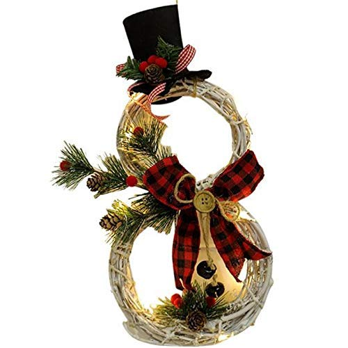 GHJU Weihnachten hängen Dekoration LED Lichter Schneemann Weihnachtskranz Rattan Kreis Tür Startseite Weihnachtsbaum Dekoration (Farbe: B), Farbe: B Qingqiao (Color : B)