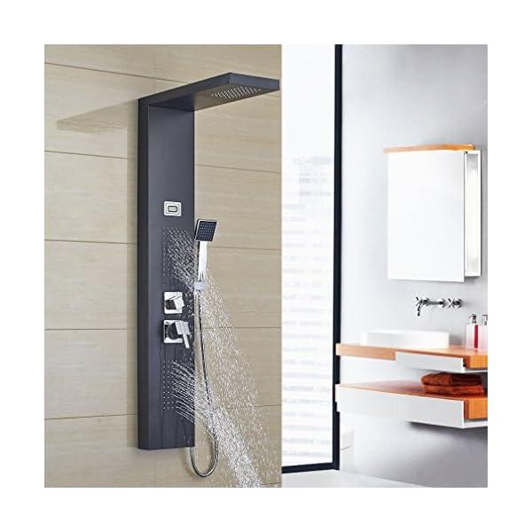 Auralum Columna Ducha Hidromasaje Negra 3 Función con Pantalla LCD (Pantalla de Temperatura del Agua) Grifos Ducha Acero…