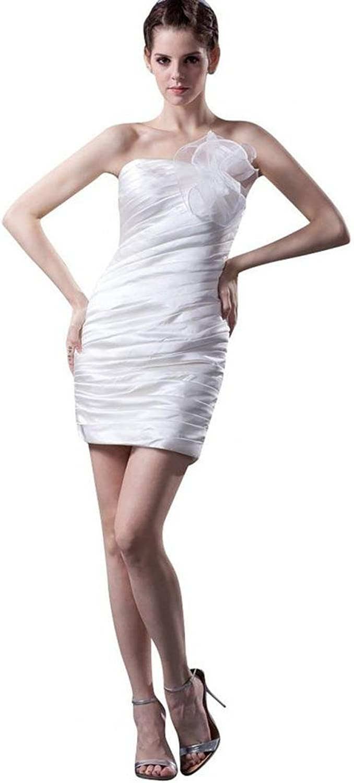 Dearta Women's Sheath Column Strapless Sleeveless Short Mini Wedding Dresses