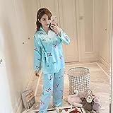 Handaxian Pijama de Mujer Pijama de Primavera y otoño Estampado de Seda Dulce Pijama de Seda para niñas Set 3 XL