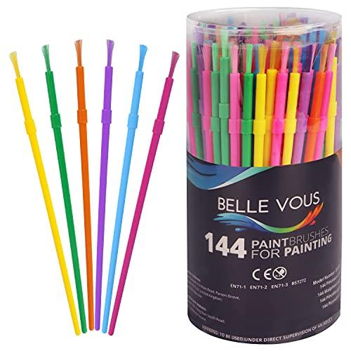 Set Pinceles para Niños (Pack de 144) - Pinceles Pintura de Plástico - Set Variado Pinceles para Temperas colores Amarillo, Rojo, Purpura, Naranja, Rosa, Azul y Verde para Proyectos Pintura Niños