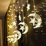 138 Luces LED de Cadena de Cortina de Estrella y Luna, Luces de Cadena de Cortina de lámpara LED para césped de Patio de Fiesta de Navidad(Warm White)