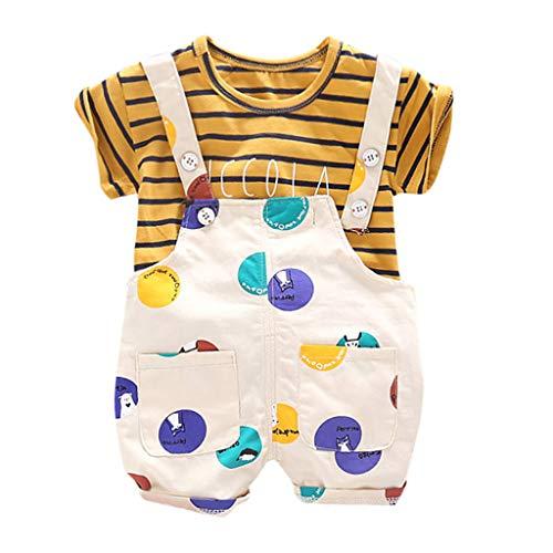 Hui.Hui Ensemble de Nouveau-né Vêtements Bébé Garçon Fille 2 Pièces Chemise à Pois Tops de Rayure T-Shirt à Manches Courtes et Shorts à Bretelles Vêtements Printemps pour Enfants 3M-3Y