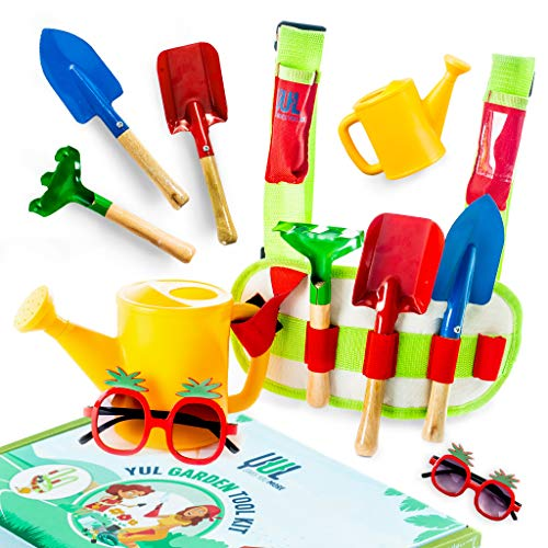 YUL Kids Gardening Tool Set: Fun Garden Tools for Kids with The Perfect Vest Carry Belt with Rake, Hoe, Shovel, Sunglasses, Watering Can and Adjustable Straps, Ages 3 to 10