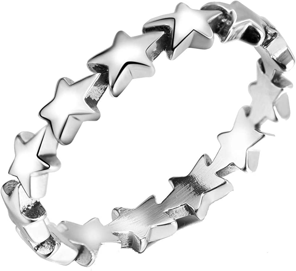 Stainless Steel Star Shaped Stackable Wedding Engagement Promise Statement Band Ring