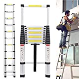 Telescopic Ladder 3.2M 10.5 Feet, Extension Ladder Aluminum Light Weight Collapsible Max Load 150kg, Save Space Easy to Carry for Indoor Outdoor Attic Loft Stepladder