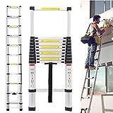 Telescopic Ladder 3.2M 10.5 Feet, Extension Ladder Aluminum Light Weight Collapsible Max Load