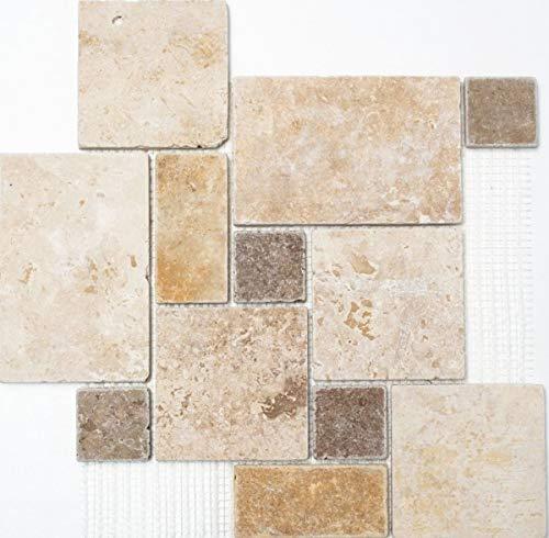 Mosaico de mosaico travertino, piedra natural, beige, marrón, mini patrones, MOS43-1204