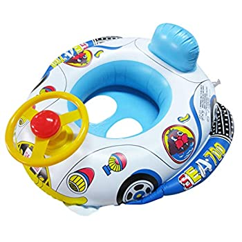 LKLK Baby Pool Float Baby Swimming Floats with Safety Seat Ring Inflatable Kids  Swim Car Floaties Boat PVC Pool Floats
