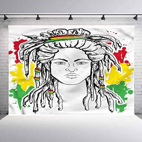 7x7FT Vinyl Photography Backdrop,Rasta,Grunge Flag Colors Reggae Background for Selfie Birthday Party Pictures Photo Booth Shoot