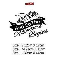 MIYU コンパスと山のアドベンチャーカーステッカーアートパターン装飾カーステッカーアクセサリーラップビニール接着剤ステッカーカーボディ (Color Name : Style6, Size : Size M)