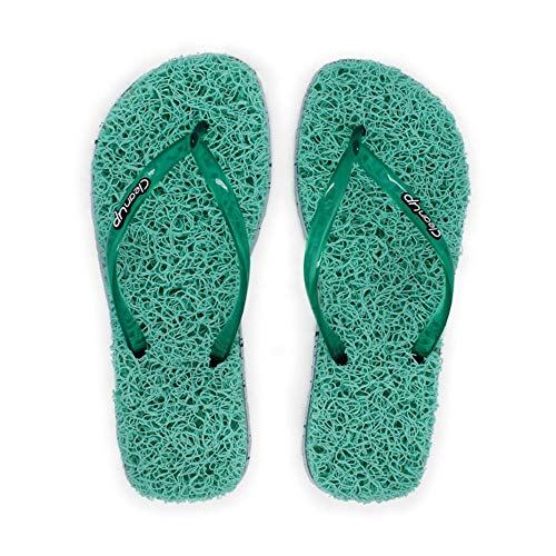 CleanUp Women's Flip Flops   Exfoliating, Massaging and Relaxing   Perfect for the Spa and Home   Comfortable & Lightweight Thong Sandals   100% Vegan Recyclable Fibers   Green   Size 8.5 - 9.5