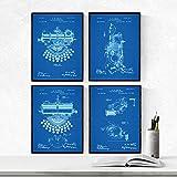 Nacnic Azul - Pack de 4 Láminas con Patentes de Máquinas de Escribir. Set de Posters con inventos y Patentes Antiguas. Elije el Color Que Más te guste.