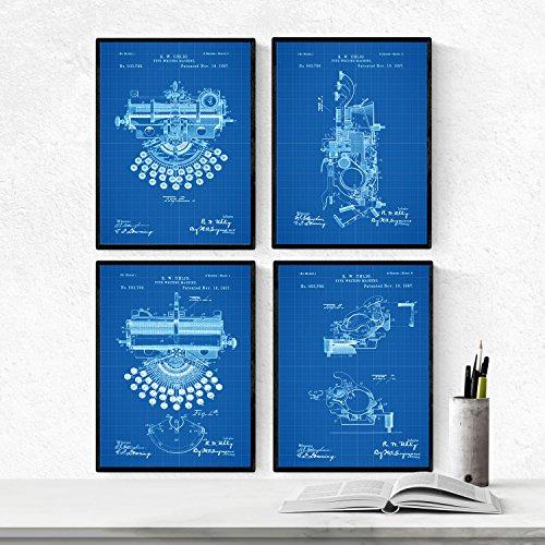 BLAUW - pak van 4 vellen met PATENT typemachines. Maak posters met uitvindingen en oude patenten. Kies de gewenste kleur. Gedrukt op hoge kwaliteit 250 gram. Nacnic