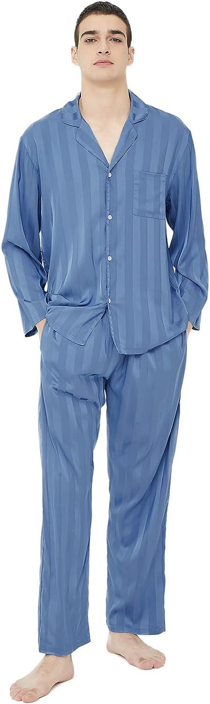muselene Mens Silk Satin Pajamas Set, Long Sleeve Loungwear Two-Piece Sleepwear Silky Button-Down Pj Set Night Suit, S to XXL