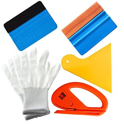 Gebildet 5 in 1 Rakel Set für Autofolie/Tönungsfolie/Sonnenschutzfolie Installation, Enthalten: Orange Wildlederrakel, Schwarz Faser Rakel, Gelb Hard Rakel, Snitty Cutter, Arbeitshandschuh.