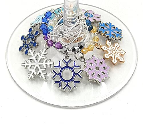 Christmas Wine Charms - Snowflake Holiday Xmas Wine Tag Glass Identifiers - Snowflake Glass Marker Labels For Hanukkah and Kwanzza - 9 wine charms